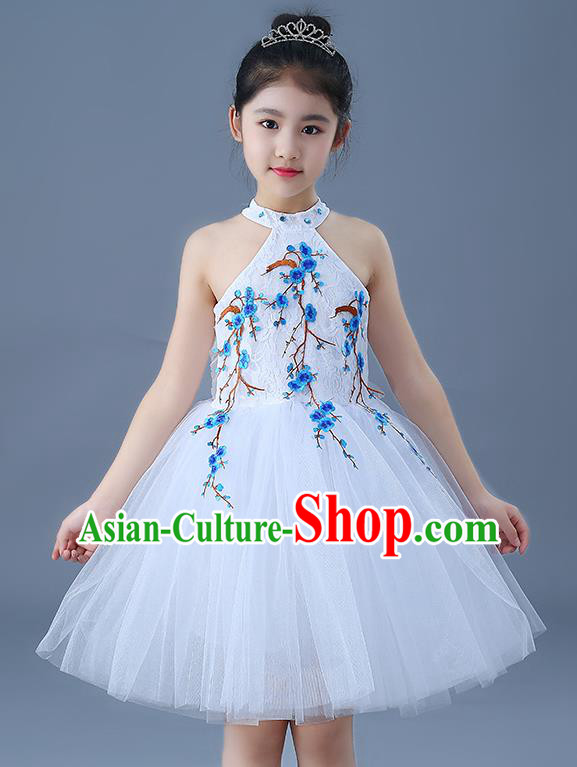 Top Grade Chorus Costumes Children Modern Dance Embroidered Blue Plum Blossom Bubble Dress for Kids