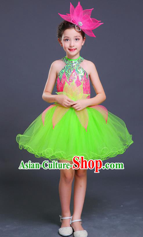 Top Grade Chorus Costumes Children Classical Dance Lotus Dance Green Bubble Dress for Kids