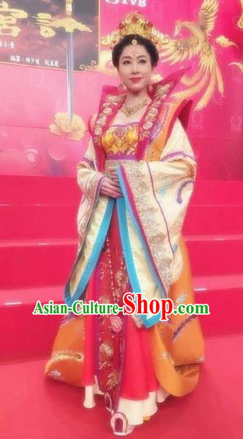 Chinese Tang Dynasty Palace Queen Hanfu Dress Ancient Empress Embroidered Costumes for Women
