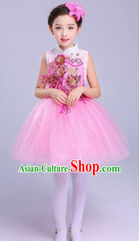 Top Grade Chorus Costumes Children Modern Dance Embroidered Paillette Pink Bubble Dress for Kids