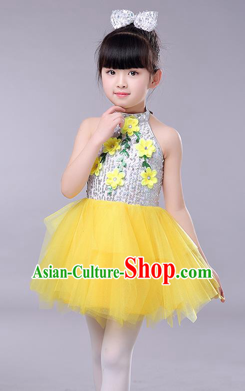 Top Grade Chorus Stage Performance Costumes Children Modern Dance Clothing Yellow Veil Bubble Dress for Kids