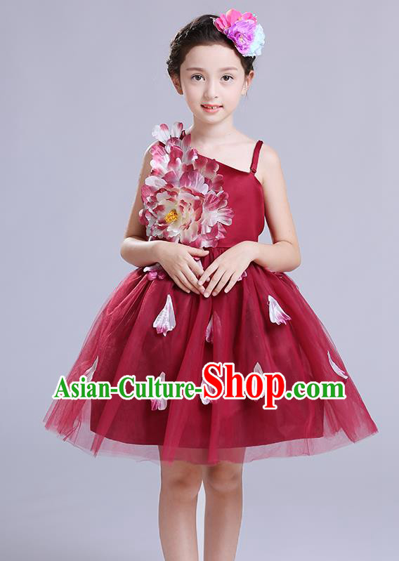 Top Grade Chorus Stage Performance Costumes Children Modern Dance Clothing Compere Veil Bubble Dress for Kids