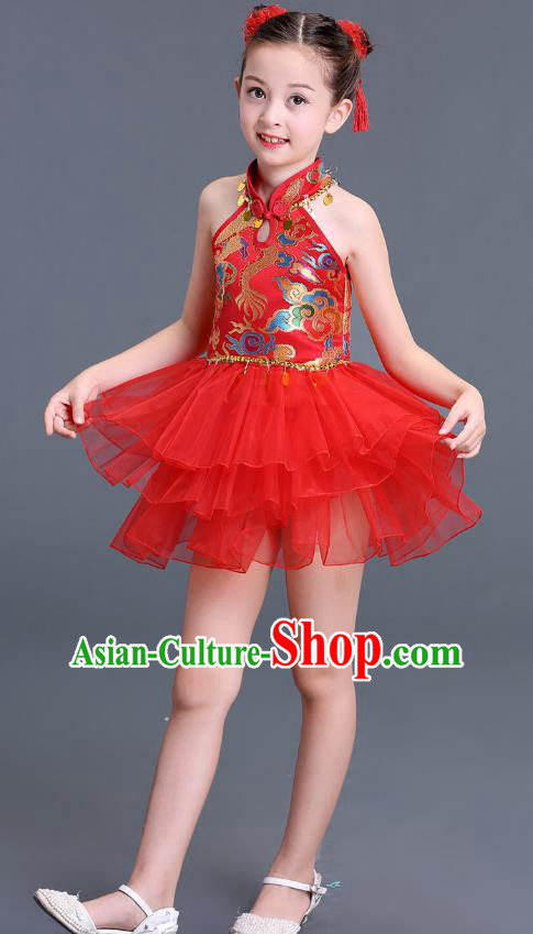 Chinese Traditional Folk Dance Costumes Red Bubble Dress Children Classical Dance Tang Suit Cheongsam for Kids
