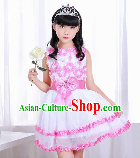 Top Grade Chorus Costumes Stage Performance Pink Bubble Dress Children Modern Dance Clothing for Kids