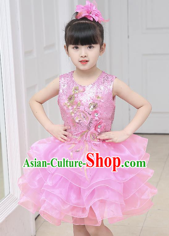 Top Grade Chorus Costumes Stage Performance Pink Sequins Bubble Dress Children Modern Dance Clothing for Kids