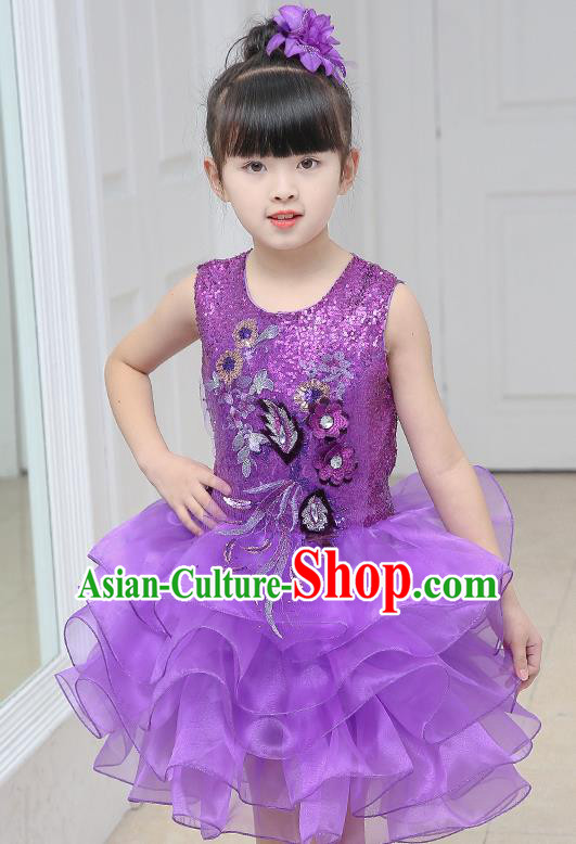 Top Grade Chorus Costumes Stage Performance Purple Sequins Bubble Dress Children Modern Dance Clothing for Kids
