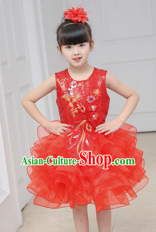 Top Grade Chorus Costumes Stage Performance Red Sequins Bubble Dress Children Modern Dance Clothing for Kids