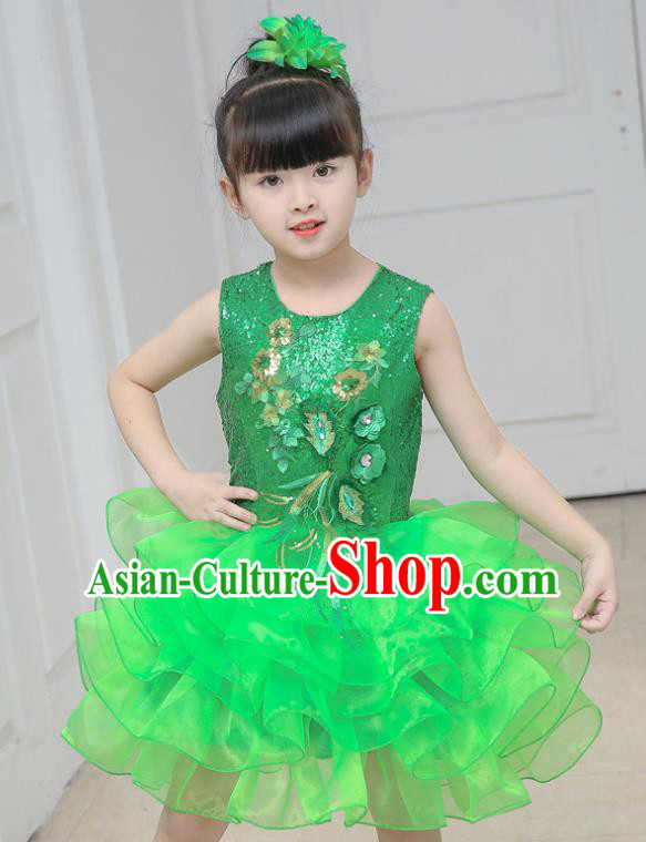 Top Grade Chorus Costumes Stage Performance Green Sequins Bubble Dress Children Modern Dance Clothing for Kids