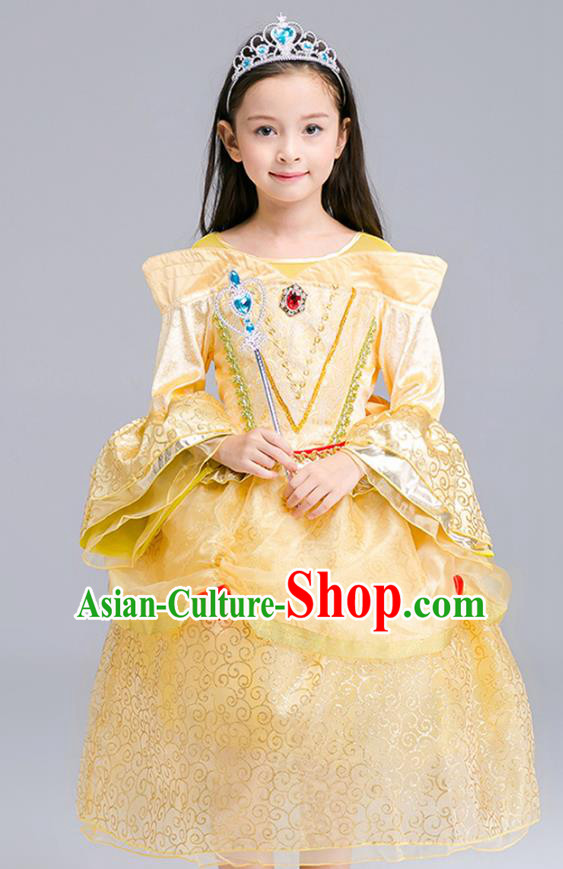 Top Grade Chorus Costumes Stage Performance Princess Yellow Dress Children Modern Dance Clothing for Kids