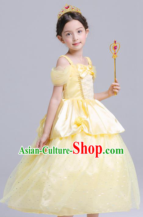 Top Grade Chorus Costumes Stage Performance Princess Yellow Full Dress Children Modern Dance Clothing for Kids