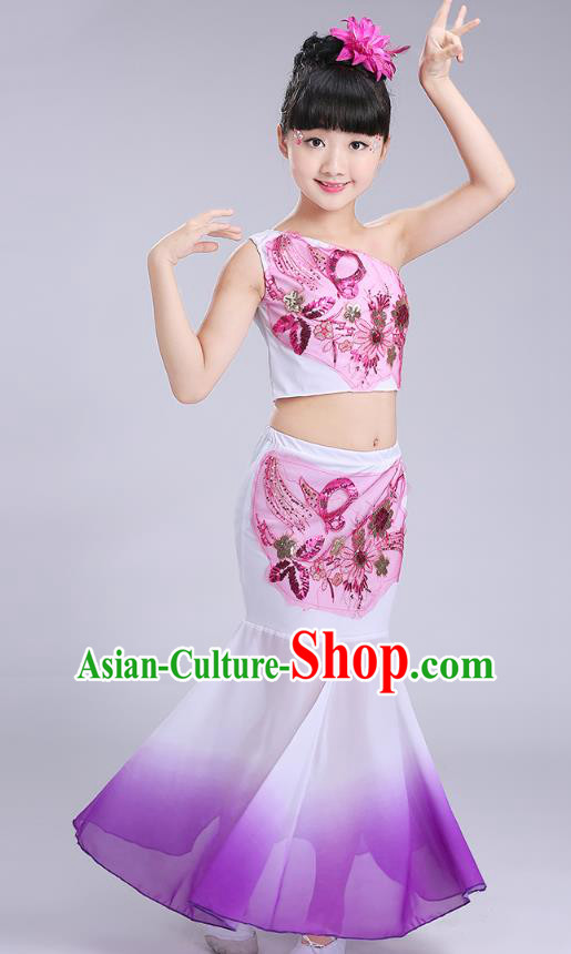 Chinese Traditional Folk Dance Costumes Dai Nationality Pavane Purple Dress Children Classical Peacock Dance Clothing for Kids