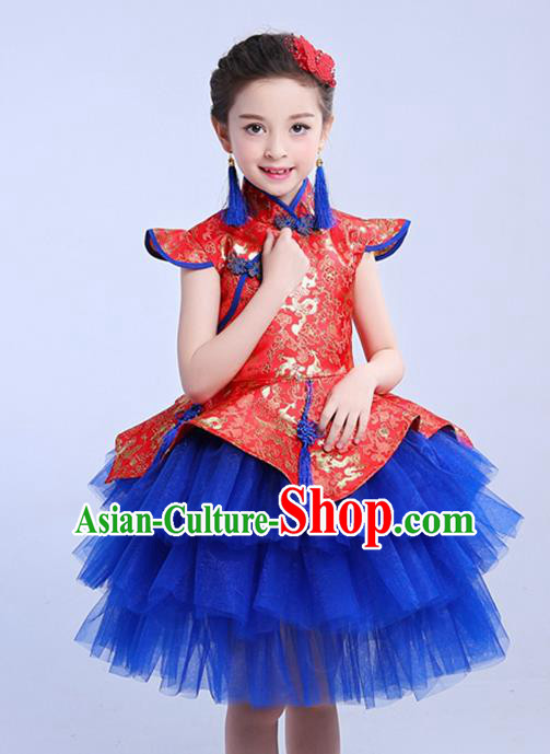 Chinese Traditional Folk Dance Costumes Compere Cheongsam Dress Children Classical Dance Clothing for Kids