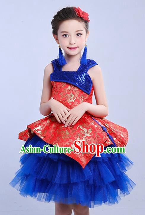 Chinese Traditional Folk Dance Costumes Compere Cheongsam Red Dress Children Classical Dance Clothing for Kids