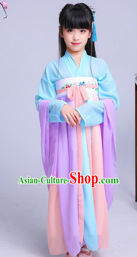 Chinese Traditional Folk Dance Costumes Ancient Hanfu Dress Children Classical Dance Clothing for Kids