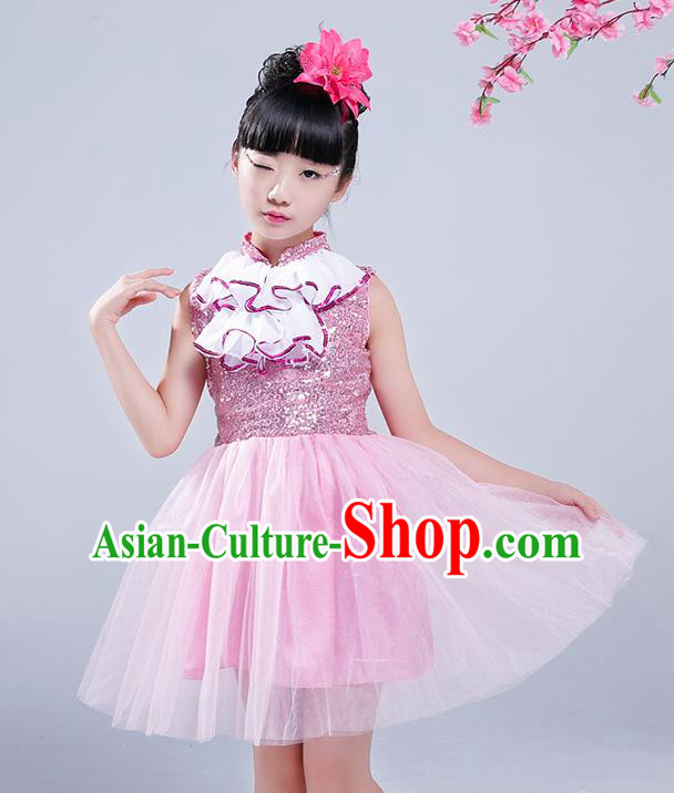 Top Grade Princess Dress Girls Stage Performance Chorus Costumes Pink Bubble Dress for Kids