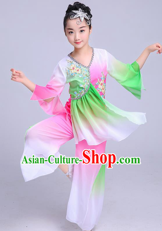 Chinese Traditional Folk Dance Yangko Green Costumes Children Classical Dance Fan Dance Clothing for Kids