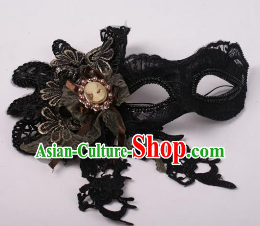 Halloween Fancy Ball Props Exaggerated Black Lace Face Mask Stage Performance Accessories Christmas Masks