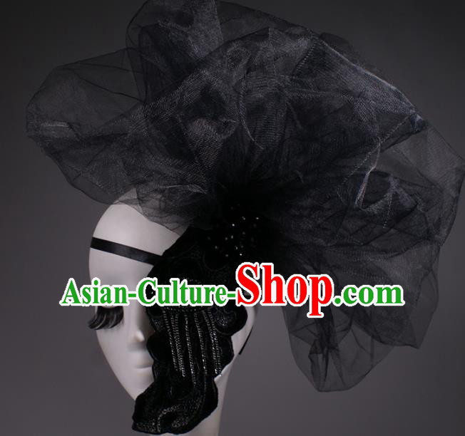 Halloween Fancy Ball Props Exaggerated Black Veil Face Mask Stage Performance Accessories Christmas Mysterious Masks
