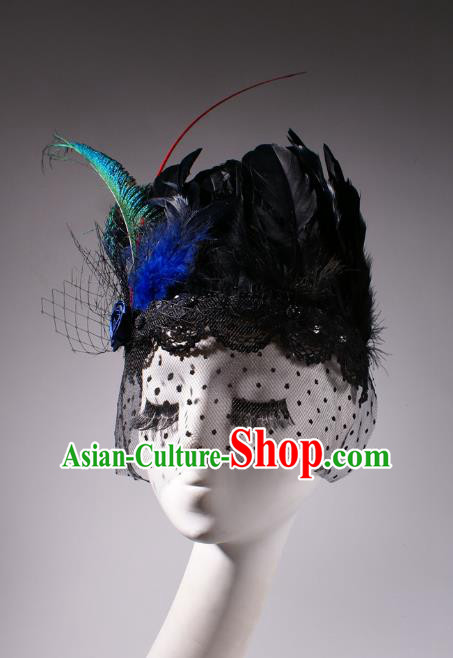 Top Grade Halloween Hair Accessories Stage Performance Modern Fancywork Headwear Black Feather Headdress