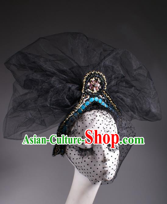 Top Grade Halloween Queen Hair Accessories Stage Performance Modern Fancywork Headwear Black Veil Hair Clasp