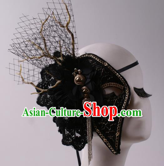 Halloween Fancy Ball Props Half Face Mask Stage Performance Accessories Black Masks