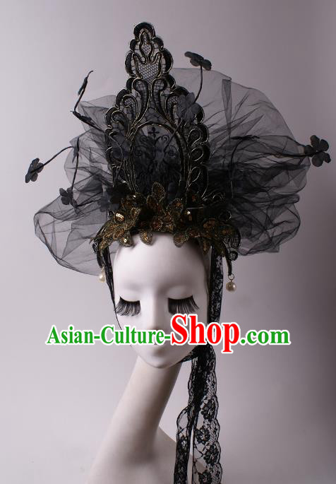 Top Grade Halloween Hair Accessories Stage Performance Modern Fancywork Headwear Black Veil Headdress