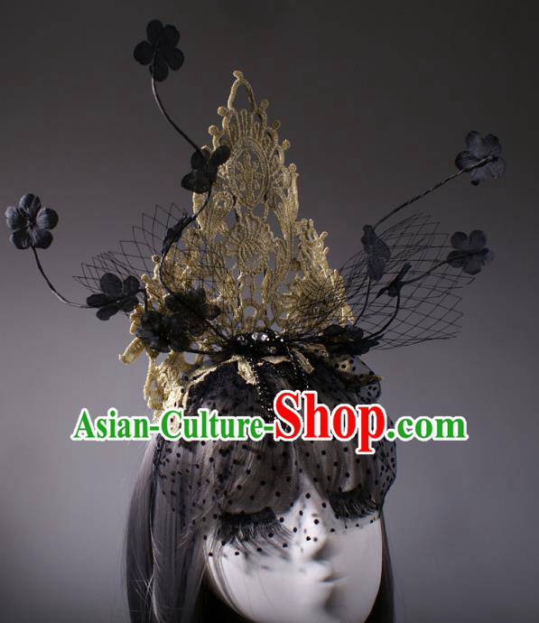 Top Grade Halloween Queen Golden Lace Hair Accessories Stage Performance Modern Fancywork Headwear Hair Crown