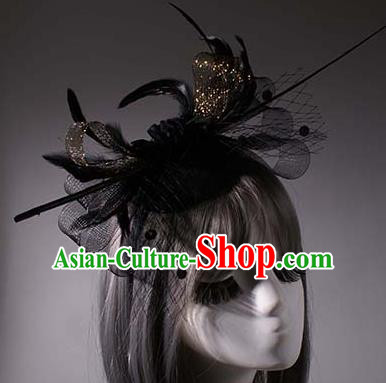 Top Grade Halloween Queen Feather Hair Accessories Stage Performance Modern Fancywork Headwear