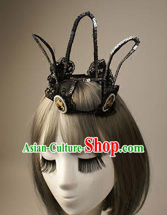 Top Grade Catwalks Hair Accessories Halloween Baroque Royal Crown Stage Performance Modern Fancywork Headwear