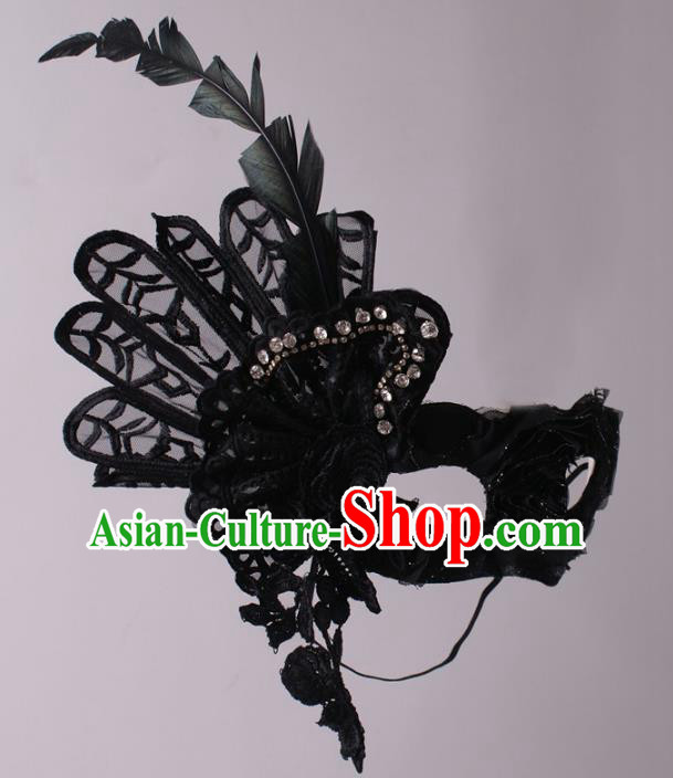 Halloween Exaggerated Black Feather Face Mask Fancy Ball Props Stage Performance Accessories Christmas Mysterious Masks