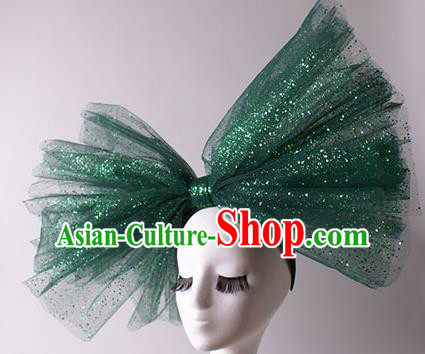 Top Grade Catwalks Hair Accessories Halloween Green Bowknot Hair Clasp Stage Performance Modern Fancywork Headwear