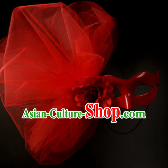 Halloween Exaggerated Red Veil Face Mask Fancy Ball Props Stage Performance Accessories Christmas Mysterious Masks