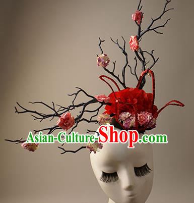 Top Grade Catwalks Queen Red Flowers Hair Accessories Halloween Baroque Stage Performance Modern Fancywork Headwear