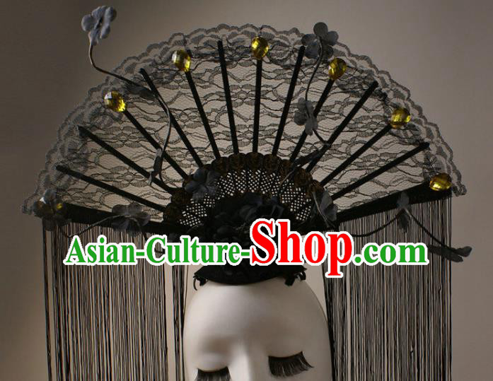 Top Grade Catwalks Queen Black Lace Hair Accessories China Style Stage Performance Modern Fancywork Headwear