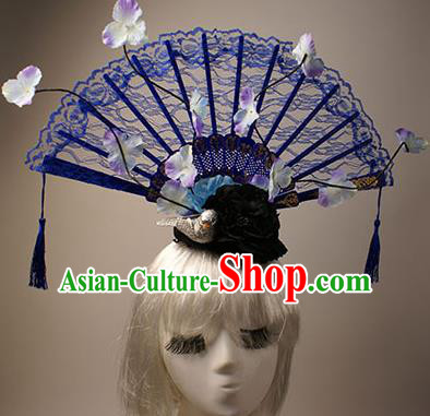 Top Grade Chinese Catwalks Hair Accessories Halloween Stage Performance Blue Lace Hair Clasp Modern Fancywork Headwear