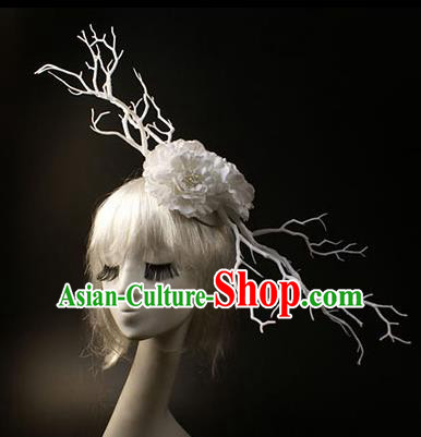 Top Grade Catwalks Hair Accessories Halloween Stage Performance White Flowers Branch Hair Clasp Modern Fancywork Headwear