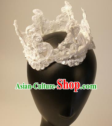 Top Grade Christmas Catwalks Hair Accessories Halloween Stage Performance White Lace Royal Crown Modern Fancywork Headwear