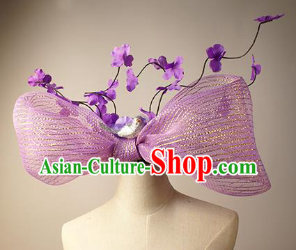 Top Grade Christmas Catwalks Hair Accessories Halloween Stage Performance Purple Bowknot Hair Clasp Modern Fancywork Headwear