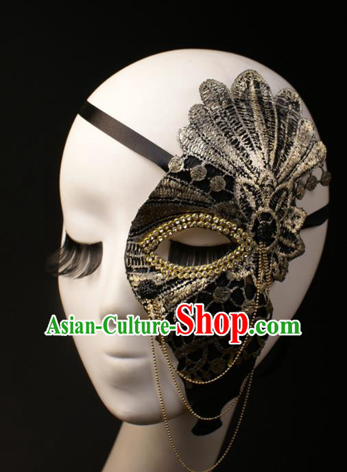 Halloween Exaggerated Half Face Mask Fancy Ball Props Stage Performance Accessories Christmas Mysterious Masks