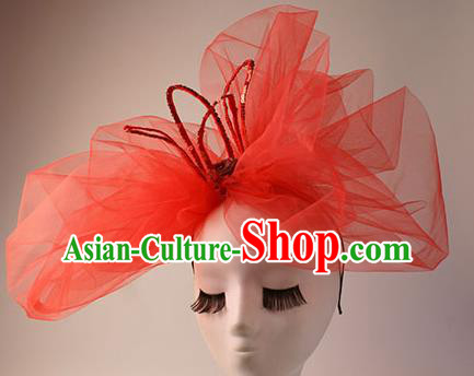 Top Grade Catwalks Hair Accessories Halloween Stage Performance Red Veil Hair Clasp Modern Fancywork Headwear