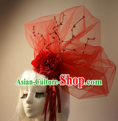Top Grade Catwalks Hair Accessories Halloween Stage Performance Red Flower Veil Hair Clasp Modern Fancywork Headwear
