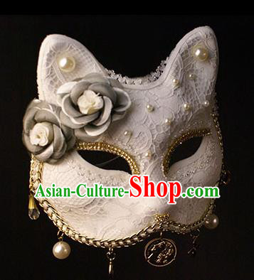 Halloween Exaggerated White Face Mask Fancy Ball Props Stage Performance Accessories Christmas Mysterious Masks