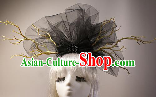 Top Grade Catwalks Hair Accessories Halloween Stage Performance Black Veil Hair Clasp Modern Fancywork Headwear