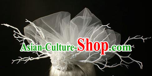 Top Grade Christmas Catwalks Hair Accessories Halloween Stage Performance White Veil Hair Clasp Modern Fancywork Headwear