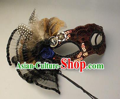 Halloween Exaggerated Brown Sequin Face Mask Venice Fancy Ball Props Catwalks Accessories Christmas Masks