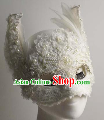 Halloween Exaggerated White Fox Face Mask Venice Fancy Ball Props Catwalks Accessories Christmas Masks