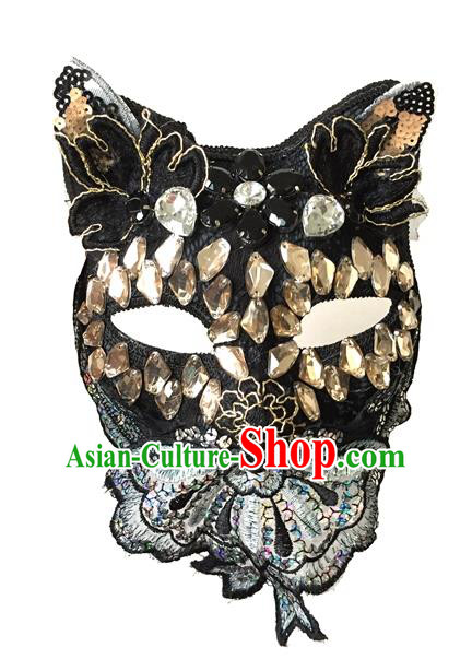 Halloween Handmade Crystal Cat Face Mask Fancy Ball Catwalks Masks Christmas Exaggerated Feather Masks