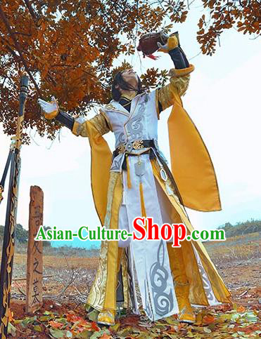 China Ancient Cosplay Swordsman Warriors Yellow Costumes Complete Set Chinese Traditional Knight-errant Clothing for Men