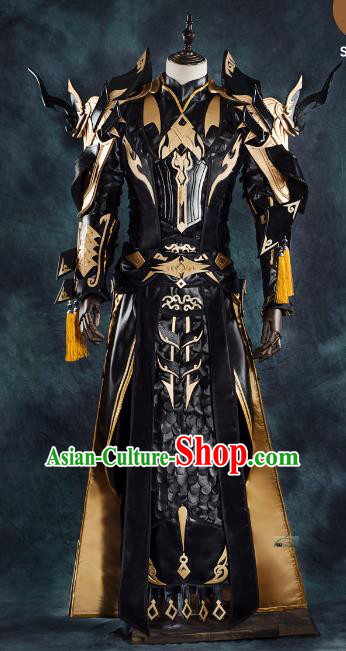 China Ancient Cosplay Chivalrous Expert Swordsman Black Costumes Complete Set Chinese Traditional Knight-errant Clothing for Men