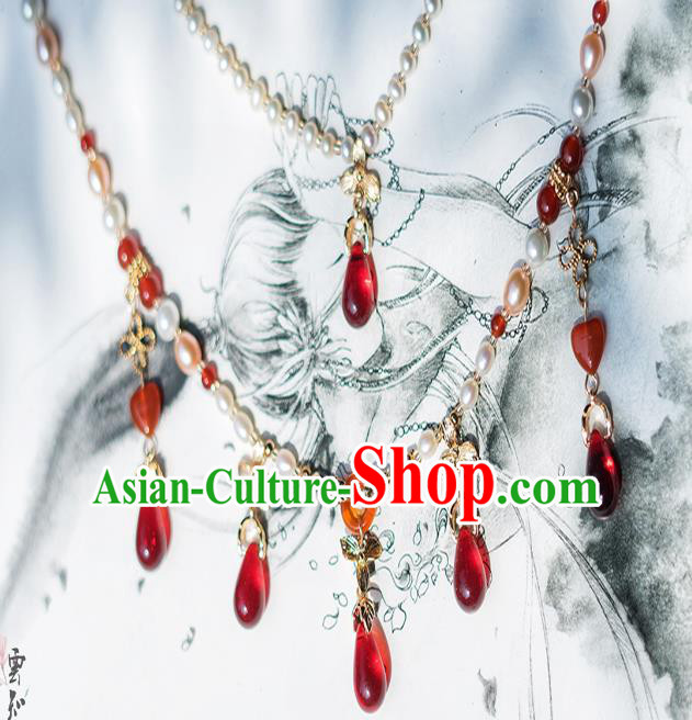 China Ancient Palace Accessories Conophytum Pucillum Necklace Chinese Traditional Jewelry Hanfu Necklet for Women